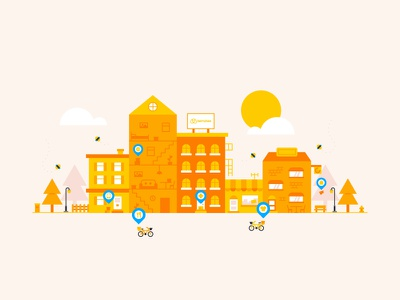 Bemybee Illustration 🐝 house pointer pin location bike delivery town street city bee cute illustration
