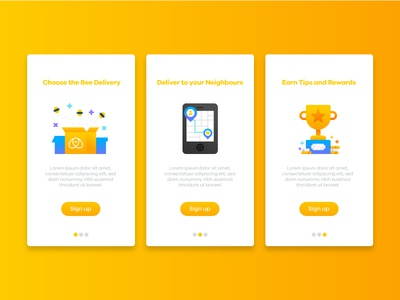 Bemybee Onboarding Illustrations 🐝 package delivery map ui screen app onboarding rewards bee cute illustration