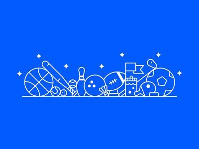 Sports 🏀 🏈 🏓 bottle line ball icons cute bowling baseball basketball football sport illustration sports