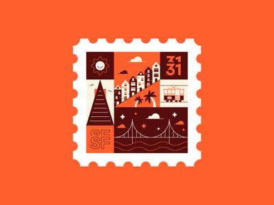 San Francisco Stamp 🌞 🌴 stamp sun houses golden gate bridge city san fran san francisco snapchat