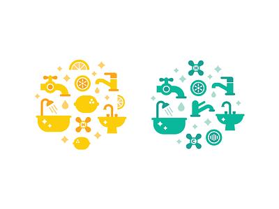 Publix Packaging Illustrations 🍋 ✨ clean sparkle icons shower bath faucet tap illustration print packaging cute lemon
