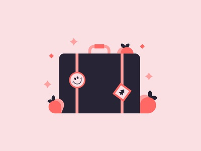 Packin' Peaches 🍑 fruit illustration design travel luggage suitcase packing peach creative south