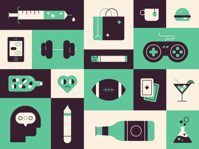Addiction 🏈🍔🎮 love gambling alcohol art social food gaming drugs icons sports illustration addiction