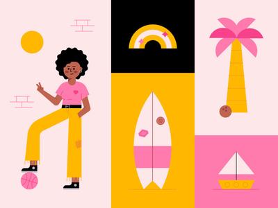 Summer 🏀✌️🌈 basketball cute fun peace palm tree boat rainbow surf illustration summer character