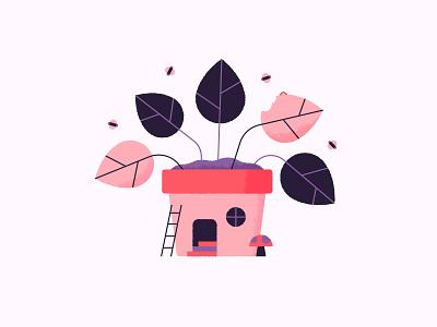 Pot House 🍄 bee home mushroom bugs fun cute house texture pot plant