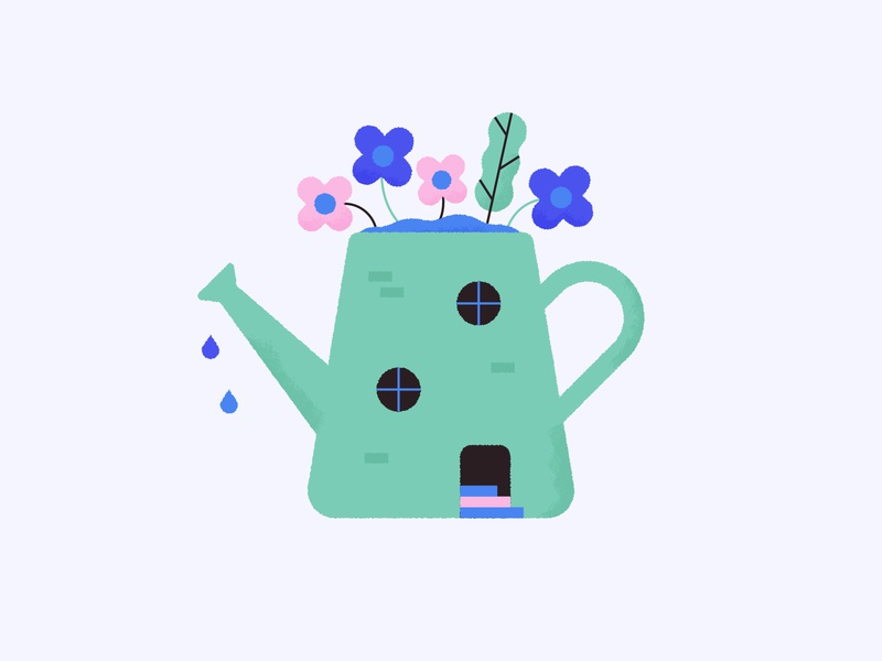 Watering House 🌸 image blog pot fun illustration home plant flower cute house can water