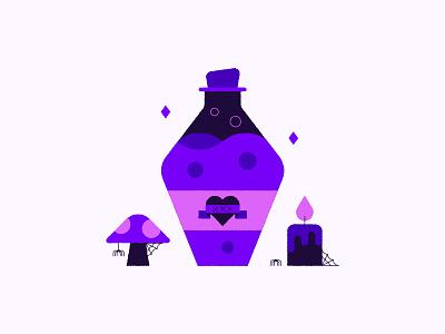 Spell 🍄 #Vectober web spider illustration inktober poison potion love spooky halloween cute mushroom candle spell vectober