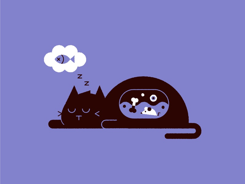 Exhausted 💤#Vectober spooky halloween whiskers inktober vectober dreaming sleep belly stomach mouse fish illustration cute cat
