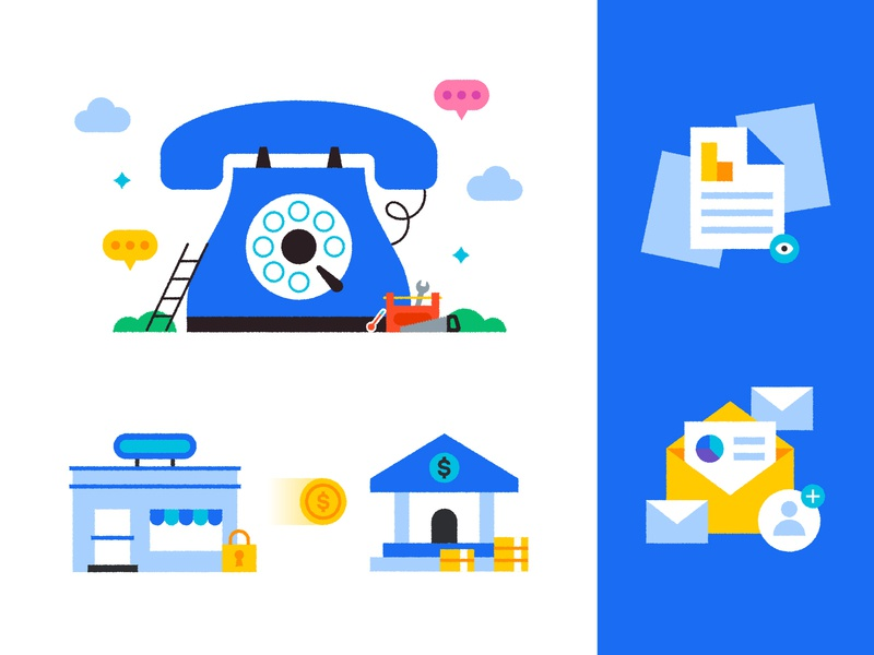 Service Titan Illustrations chat design icon report editorial money store bank services tools data email transfer phone cute illustration