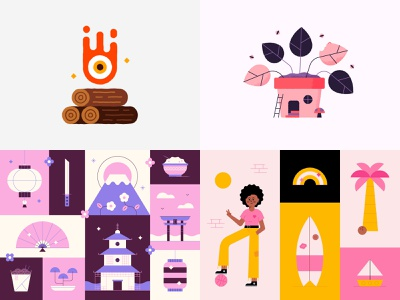 #Top4Shots of 2018 on Dribbble animation 2018 character top fire logs plant japan design summer cute illustrations dribbble shots