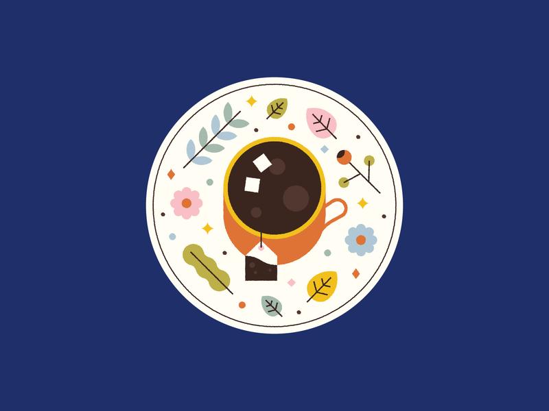 Tea ☕️🍂🌸 mug cup tea bag illustration cute plant coffee herbal leaves flowers coaster tea