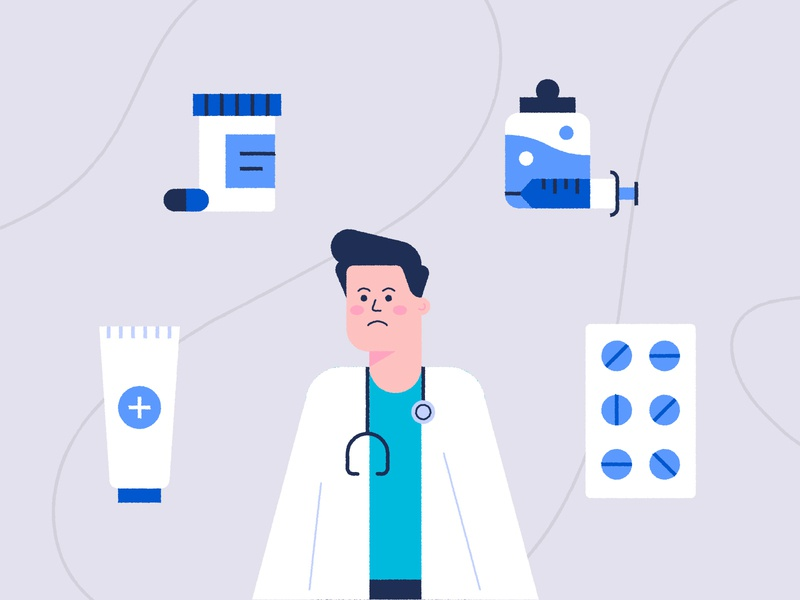 Medical Scene 💊👨🏻‍⚕️💉 cute vector pattern icon design character sad fun tablets pills scene animation illustration medical center care surgeon doctor injection medical