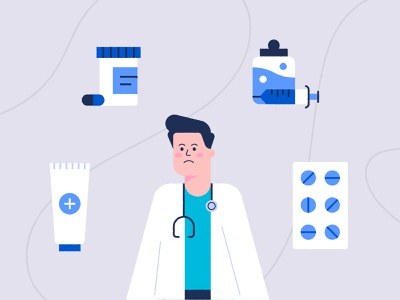 Medical Scene 💊👨🏻⚕️💉 cute vector pattern icon design character sad fun tablets pills scene animation illustration medical center care surgeon doctor injection medical