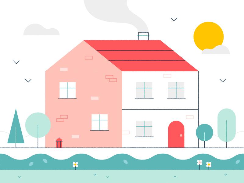 Summer Home  🏡⛅️🌸 street nature birds flat vector cute spring garden summer home house design art spot illustration