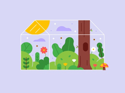 Spring 🌼🌿🍄 grass cute sun mushroom trees leaves flowers glass house green house plants illustration spring