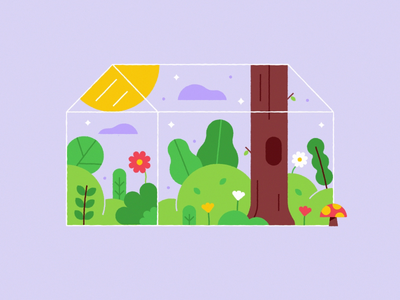 Spring Animated 🌸🌿🍄 motion animated mushroom leaves sun trees flowers summer spring glass house cute illustration animation