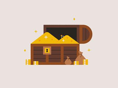 Treasure ✨💍💰 treasure chest print design illustration cute sparkle ring coins money chest treasure