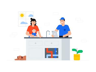 Service Titan Illustration landing page app illustration spot header services home software baby dog cute plumbing service titan