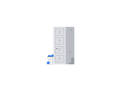 Google Drive Rocket 🗄🚀 cute google design campaign ad boost space new sparkle retro illustration animation paper old cabinet rocket drive google
