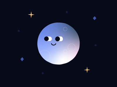 Moon Bottom 🌚🍑 smile eyes boil wiggle 3d gradient bum bottom cheeky character fun stars space animation illustration cute moon