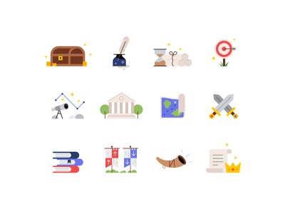 Icons and characters ⚔️👑📚 illustration fun gaming scroll map character history treasure chest medieval cute icons