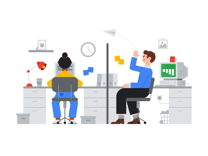 Google Office Illustration design paper plane coffee characters character drive retro coding games cute illustration fun office