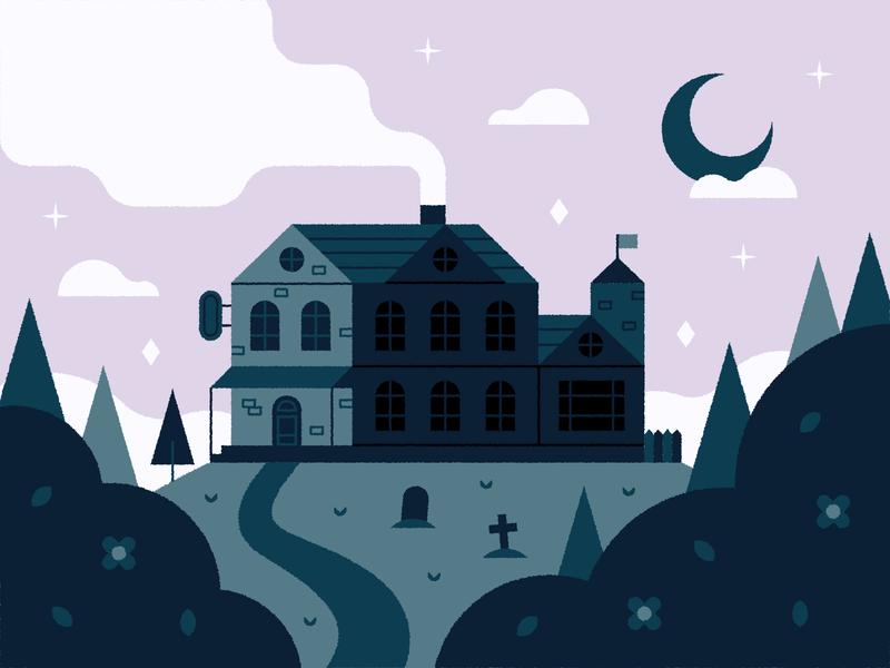 Horror Hotel 🏚🌙🌲 graveyard grave forest stars moon halloween spooky mansion house design cute vector illustration scene hotel horror