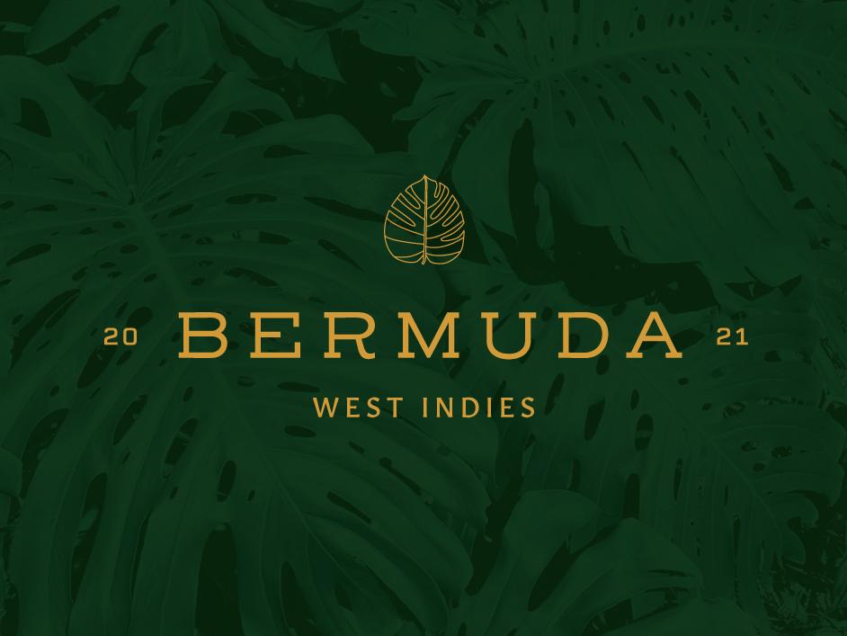 Bermuda Incentive Trip Branding logo design green nature logo leaf island type summer travel bermuda minimal texture leaves tropical leaves tropical vector design typography logo identity branding