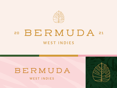 Bermuda Incentive Trip Branding Variations nature summer vector vacation trip travel texture modern minimal tropical leaves leaf bermuda typography logo brand identity branding