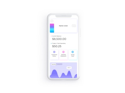 Banking Reimagined spending money finance creditcard card dashboard design dashboard home minimalistic simple white mobile mobile app light theme purple appdesign fintech mobile banking app mobile banking ui