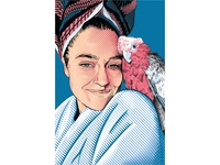 Bogie the Galah (E. roseicapilla) with his favorite human imac wacomtablet illustrator fresco digitalart birds galah bogie bogiethegalah