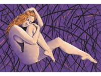 Firefly Dream fineart mysterious colorful fantasy illustrator fresco vector female nude dream firefly
