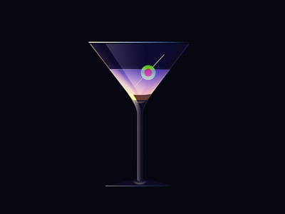 Martini fun neon lights design drinks illustration flat