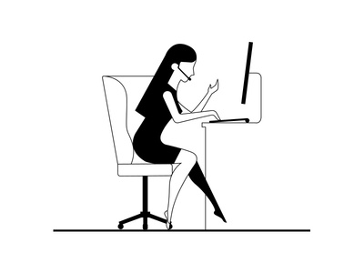 1 blackandwhite clean simple woman human flat line vector drawing