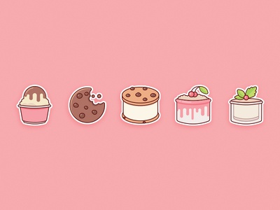 Sweet Sticker Set yummy flat food cute stickers icons sweets