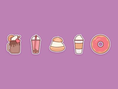 Sweet Sticker Set - 3 yummy flat food cute stickers icons sweets