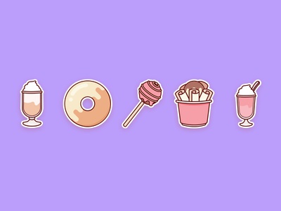 Sweets4 10 yummy flat food cute stickers icons sweets