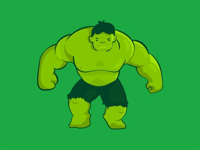 Hulk ilustration kawaii cute superhero green avengers hulk comic