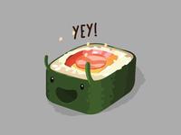 Yey! food colors cheerful fun cute kawaii sushi sticker vector illustrator illustration drawing