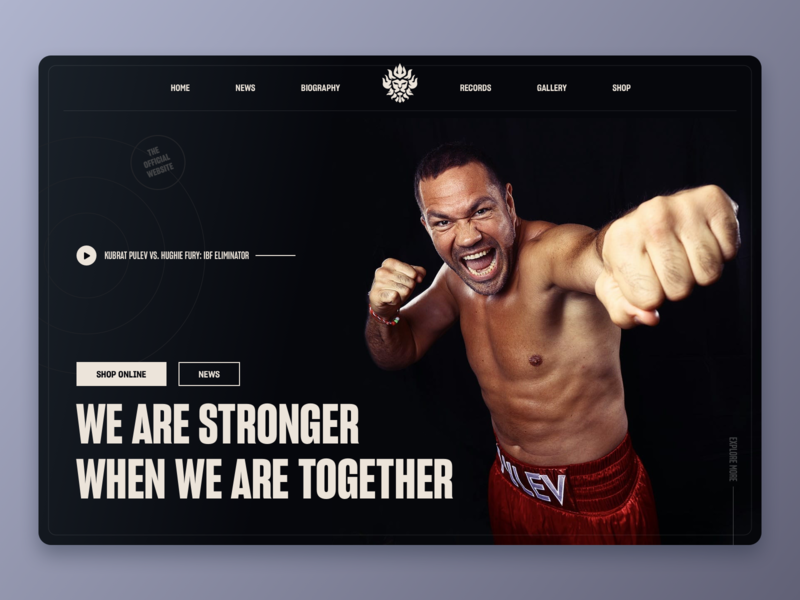 Heavyweight Boxer Kubrat Pulev Official Website dashboad elegant black dark modern successful minimal clean website landing typogaphy exercise health champion training gym fitness sport boxing athlete