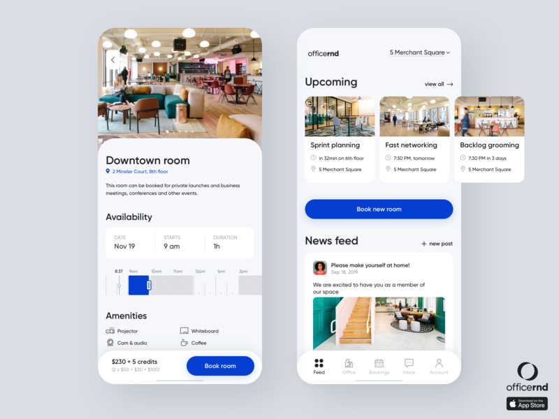 Coworking Office Management Mobile App minimalistic modern blue productivity social app management app hybrid app mobile design product clean app meeting room meetings cards schedule booking office space office coworking
