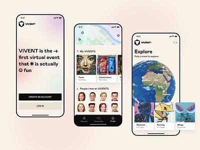 Virtual events explorer modern ux ui mobile app ios minimalistic slide profile friends map ar virtual cards app product clean splash world art events