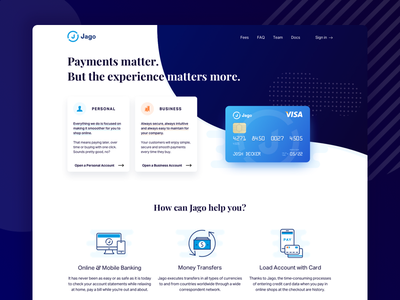 Jago - Payment Solutions online banking marketing fintech finance credit card homepage product visual design web cards landing payment