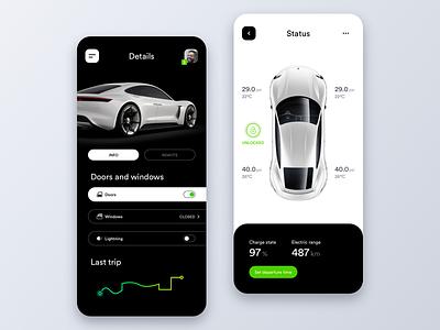 Vehicle Status Control App tesla iphonex android product automotive minimal car app vehicle design charge auto modern porsche smart car electric car control status ios mobile app car vehicle