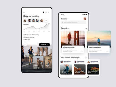Habits & routines mobile app ux ui ios iphonex flat design modern clean slider friends iphone fitness social app mobile cards statistic motivation routine habit