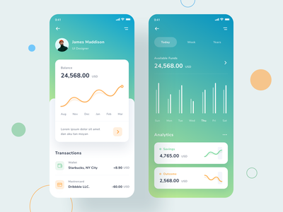 Mobile banking app flat ios profile savings uxdesign cards transactions statistic spending payment interface mobile fintech finance app balance expense business bank banking bank app