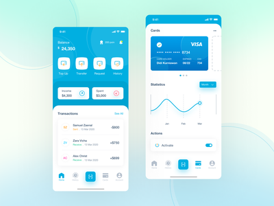 E - Wallet Apps 💳 point money management money transfer bank statistics card transaction spent income balance emoney ewallet money uiux uxdesign uidesign