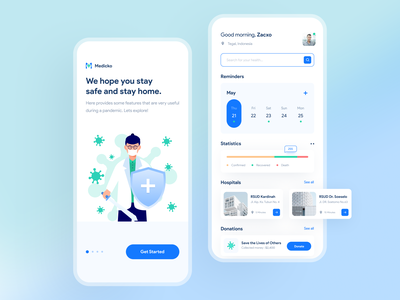 Medicko healthy doctor checkup hospitals covid-19 company uiux ios illustration clean design user experience user inteface medical app medical