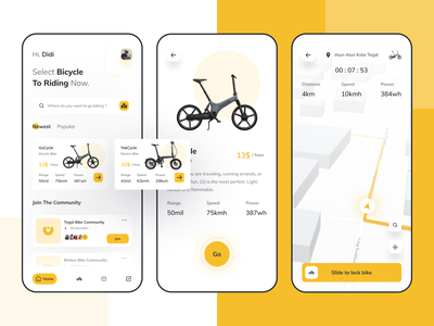 Bicycle Rental uiux clean design dribbble rentbike bicycle community iphone ios company maps location destination yellow uxdesign uidesign app riding rental bike ride