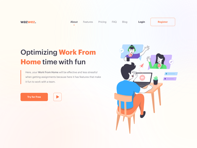 wazwez - Optimizing work from home with fun 😇 call meeting wfh uiux header lineart character modern design product website effective collaborative whitespace clean design work work from home illustration ux design ui design